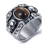 Men's Fashion Vintage Rock Style 316L Titanium Steel Skull Personality Engraved Agate Onyx Rings 8 9 10 11 11 12 Casual/Daily 1pc