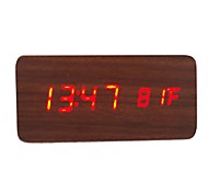 cheap -RayLineDo® Latest Design Fashion Brown Wood Red LED Light Wooden Digital Alarm Clock -Time Temperature Date Display - Voice and Touch Activated