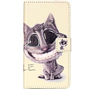 For HUAWEI P9 P8 Lite 5X 5C Y5II Y6II Case Cover Smiling Cat Pattern Painting Card Stent PU Leather Phone Case