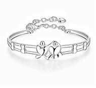 Браслеты Браслет цельное кольцо Медь Серебрянное покрытие В форме сердца Сердце Дружба Мода Панк Хип-хоп День рождения Бижутерия Подарок