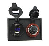 12v / 24v adaptador de mechero voltímetro zócalo y 4.2a doble USB con el panel titular de la vivienda para rv del carro del barco del