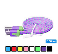 1m V8 Micro USB Tenacity Nylon Noodle Data Cable for Samsung and Other Phone (Assorted Colors)