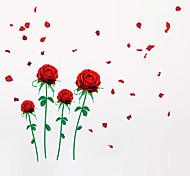 Романтика Мода Цветы Наклейки Простые наклейки Декоративные наклейки на стены,Винил материал Влажная чистка Съемная Положение регулируется