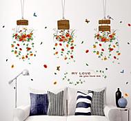 Недорогие -ботанический Мода Цветы Наклейки Простые наклейки Декоративные наклейки на стены,Бумага материал Украшение дома Наклейка на стену
