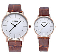 KEZZI Couple's Fashion Watch Wrist watch Quartz / Imitation Diamond Leather Band Casual Cool Black White Brown