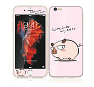 For Apple iPhone 6s Plus/6 Plus 5.5 Tempered Glass with Soft Edge Full Screen Coverage Front Screen Protector and Back Protector Pig Cartoon Pattern