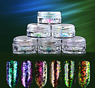 6Box 0.2g Transparent Chameleon Flakes Multichrome Nail Powder Powder Shimmer Nail Art Glitter Dust Galaxy Glitter Powder