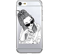 Недорогие -Кейс для Назначение Apple Ультратонкий Прозрачный Задняя крышка Соблазнительная девушка Мягкий TPU для iPhone 7 Plus iPhone 7 iPhone 6s