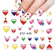 1pcs Sweet Beautiful Love Heart Design Valentine's Day Nail Art Sticker lovely Heart Nail Water Transfer Decals Nail Beauty Design STZ-440