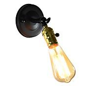 AC 220V-240V 4W E27 QS-B-006 Iron Wall Lamp Black Simple Retro Wall Lamp Single Head Decorative Wall Lamp European Style