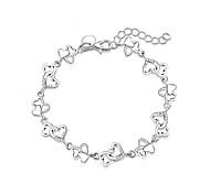 Women's Charm Bracelet Costume Jewelry Fashion Luxury Silver Plated Imitation Diamond Heart Cut Jewelry For Gift