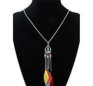 Women's Pendant Necklaces Feather Alloy Tassels Fashion Black Dark Blue Cherry Red Rainbow Khaki Jewelry Daily 1pc
