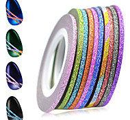 1set 2mm 12 Mixed Sparkling Colors Laser Glitter Nail Art Striping Tape Line DIY Nail Decorations Manicure Tools