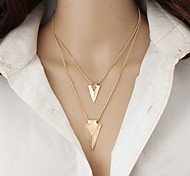 Women's Layered Necklaces Alloy Triangle Shape Double-layer Fashion Simple Style Gold Jewelry Casual 1pc