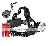 Недорогие -U'King Налобные фонари Налобный фонарь Светодиодная лампа 2000 lm 3 Режим Cree XM-L T6 с батарейками и зарядным устройством Компактный