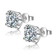 cheap -AAA Cubic Zirconia Sterling Silver Stud Earrings - Silver Earrings For Wedding / Party / Daily