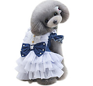 Dog Dress Dog Clothes Classic Cute Fashion British Dark Blue Light Blue Costume For Pets