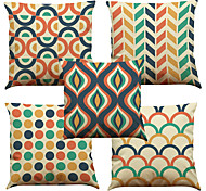 cheap -5 pcs Linen Natural/Organic Pillow Case Pillow Cover, Solid Floral Plaid Textured Casual Beach Style Euro Bolster Traditional/Classic