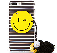 For IMD Frosted Case Stripe Smiling Face Colour Ball Tassel DIY Back Cover Case Soft TPU for Apple iPhone 7 7 Plus 6s 6 Plus