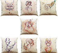 Set of 7 Watercolor  Pattern Linen  Cushion Cover Home Office Sofa Square  Pillow Case Decorative Cushion Covers Pillowcases As a Gift