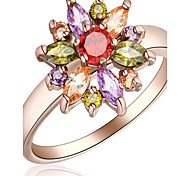 cheap -Women's Floral Rose Gold / Zircon / Alloy Flower Ring - Floral / Flower Style / Flowers White / Rose Ring For Party / Special Occasion /