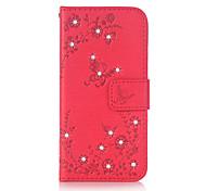 For Samsung Galaxy J3 (2016) J5 (2016) Case Cover Butterfly Love Flowers Pattern Embossed Point Drill PU Material Phone Case G530 G360