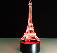 Romantic France Eiffel Tower 3D Led Night Light Rgb Changeable Mood Lamp Usb Decorative Table Lamp Kids Friends Gift