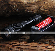 LED Flashlights / Torch LED 2000 lm 5 Mode Cree XM-L T6 with Battery and Charger Adjustable Focus Camping/Hiking/Caving Everyday Use