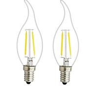 cheap -ONDENN 2pcs 3W 300lm E14 E12 LED Filament Bulbs CA35 2 LED Beads COB Dimmable Warm White 110-130V 220-240V