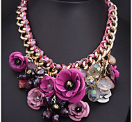Ожерелья с подвесками Заявление ожерелья Драгоценный камень Резина Сплав Богемия Стиль Лиловый Цвет радуги Светло-Зеленый БижутерияДля
