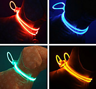 Dog Collar Adjustable / Retractable Reflective Safety Running Hands free Solid Plastic Rubber Yellow Red Green Blue