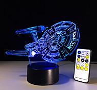 новый 3d корабль космический корабль привело иллюзией настроение лампы спальни настольная лампа ночник bulbing ребенок дети друзей семьи