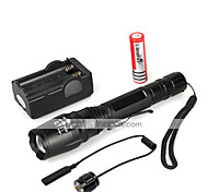 5 LED Flashlights / Torch LED 1000 lm 5 Mode Cree XM-L T6 with Battery and Charger Zoomable Waterproof Multifunction