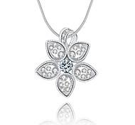 Feminino Colares com Pendentes Cristal Formato de Flor Prata de Lei Cristal imitação de diamanteOriginal Com Logotipo Pingente Jóias de