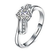 Damen Ring Basis Herz Kubikzirkonia versilbert Runde Form Schmuck Für Hochzeit Party Besondere Anlässe Alltag Normal