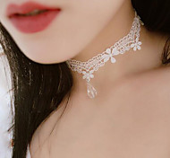cheap -Women's Lace Choker Necklace Y-Necklace - Floral Tattoo Style Flower Style Dangling Style Pendant Flowers Flower White Black Necklace