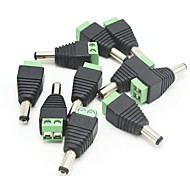 10 Pack 2.1mm x 5.5mm Male CCTV Camera DC Power Adapter