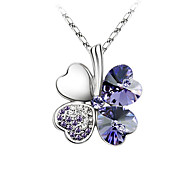 Women's Pendant Necklaces Crystal Leaf Four Leaf Clover Platinum Plated Austria Crystal Fashion Good LuckYellow Rose Red Red Light Blue