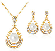 cheap -Women's Jewelry Set Imitation Pearl Rhinestone Gold Plated Alloy Drop Classic Fashion Party Gift Daily Office & Career 1 Necklace 1 Pair