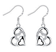 Women's Drop Earrings Crystal Fashion Silver Plated Heart Jewelry For Wedding Party Daily Casual