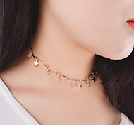 cheap -Women's Star Crystal Choker Necklace Pendant Necklace - Personalized Dangling Style Pendant Tassel Euramerican Fashion Star Necklace For