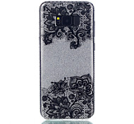For Samsung Galaxy S8Plus S7 Double IMD Case Back Cover Case Black Bottom Flower Pattern Soft TPU S8 S7Edge