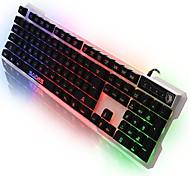 Teclado ligero del juego del usb de la computadora de la lengua del sades con el contraluz de 7 colores 104 llaves para el lol dota