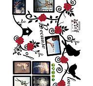 cheap -Flowers And Birds Photo Frame Wall Stickers Because of Love Quote Wall Decals  Home Decoration For Family Love