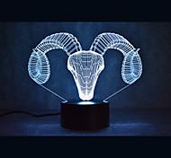 Недорогие -овечьих черепах прикосновение мерцания 3d led night light 7colorful decor атмосферу лампа новинка освещение свет