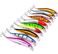 "10 pcs Hard Bait Minnow Fishing Lures Hard Bait Minnow Lure Packs Multicolored g/Ounce mm/3-1/2"" 3.8"" inch,Hard Plastic PlasticSea"