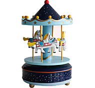 Music Box Toys DIY Furnishing Articles Circular Horse Carousel Plastic Pieces Unisex Birthday Gift