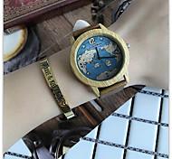 Relojes Quartz Men Watches World Map Casual Wooden Leather Strap Male Wristwatch Relogio Masculino Ladies Watch female watch