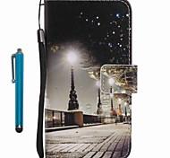 Para capa capa cartão carteira carteira com suporte flip padrão caixa de corpo cheio com stylus vista da cidade couro duro para maçã