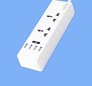 Super Speed Power Strip With 2 Feet Cord Smart 4 USB Power Adapter 220V 10A US Plug